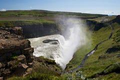 Sikt av sightfläcken nära Gullfoss (guld- nedgångar) waterf Arkivbilder