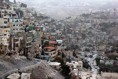 Sikt av Silwan eller Kfar Shiloah, arabisk grannskap nära gammal stad av Jerusalem arkivfoto