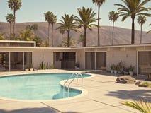 Sikt av simbassängen och modern hem- yttersida framförande 3d royaltyfri illustrationer