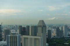 Sikt av Singapore stadshorisont Arkivfoton