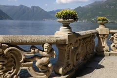 Sikt av sjön Como från Villa del Balbianello Fotografering för Bildbyråer