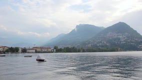 Sikt av sjön Lugano stock video