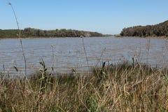 Sikt av sjön Sidi Boughaba, sikt i Kenitra, Marocko - medborgare Parc royaltyfria bilder
