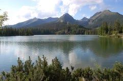 Sikt av sjön Strbske Pleso och bergen i sommaren I Royaltyfria Bilder