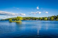 Sikt av sjön Winnipesaukee i Merideth, New Hampshire Arkivbilder