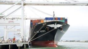 Sikt av skeppsdockorna som det NYA lastfartyget APL - Jersey laddar på porten Royaltyfria Bilder