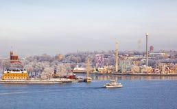 Sikt av Skeppsholmen och Djurg Fotografering för Bildbyråer