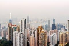 Sikt av skyskrapor av den Hong Kong staden Arkivbild