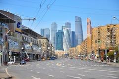 Sikt av skyskrapor för Moskvastadsområde i Moskva Royaltyfri Bild