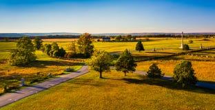 Sikt av slagfält från den Pennsylvania monumentet i Gettysbur Royaltyfria Bilder