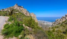 Sikt av slotten för St Hilarion nära Kyrenia 19 Arkivfoton