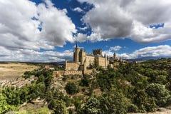 Sikt av slotten i Segovia, Spanien arkivfoton