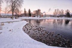 Sikt av slotten Olavinlinna Arkivbilder