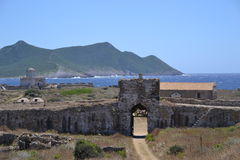 Sikt av slottet, Methoni slott Arkivbilder