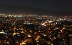 Sikt av Smyrna på natten, Turkiet. Royaltyfri Foto