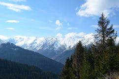 Sikt av snöig berg i Black Sea regionkalkon Arkivbilder