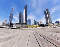 Sikt av Southbank område i Melbourne CBD Fotografering för Bildbyråer