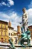 Sikt av springbrunnen av Neptun florence italy tuscany Royaltyfria Bilder