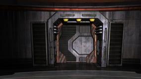Sikt av ståldörren i korridoren på rymdskeppet Royaltyfria Bilder