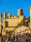 Sikt av St Nazaire Cathedral i Beziers Arkivbilder