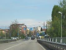 Sikt av staden av Chivasso Arkivfoton