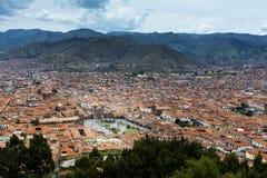 Sikt av staden av Cuzco, i Peru royaltyfri bild