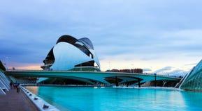 Sikt av staden av konster och vetenskaper. Valencia arkivbild
