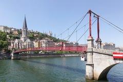Sikt av staden av Lyon med Saone River Arkivbilder