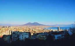Sikt av staden av Naples, Italien Arkivbilder