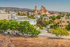 Sikt av staden av Paphos, Cypern arkivbild