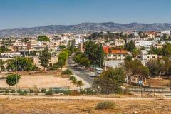 Sikt av staden av Paphos, Cypern fotografering för bildbyråer