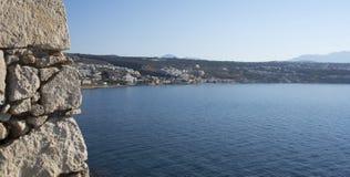Sikt av staden av Rethymno från Fortezzs fästning Arkivfoto