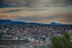 Sikt av staden, Bergamo, Italien Arkivbilder