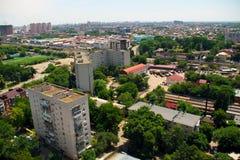 Sikt av staden av den Krasnodar järnvägsstationen royaltyfri foto