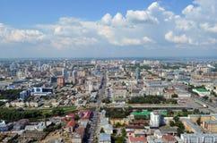 Sikt av staden Ekaterinburg Arkivfoton