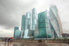 Sikt av staden för Moskva för affärsmitt i sommaren Arkivbilder