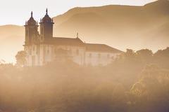 Sikt av staden för unesco-världsarv av Ouro Preto i Minas Gerais Brazil Arkivfoton