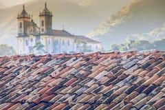 Sikt av staden för unesco-världsarv av Ouro Preto i Minas Gerais Brazil Arkivbild