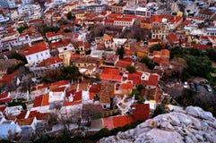 Sikt av staden från akropolen i Aten arkivbilder