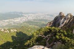 Sikt av staden från den Bukhansan nationalparken i Seoul arkivfoto