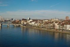 Sikt av staden från flodRhen basel Arkivbilder