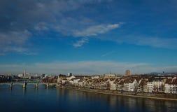 Sikt av staden från flodRhen basel Royaltyfri Foto