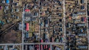 Sikt av staden från quadcopteren Flyg- granskning royaltyfri fotografi