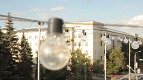 Sikt av staden från terrassen arkivfilmer
