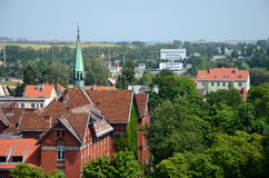 Sikt av staden (Gizycko i Polen) Arkivfoto