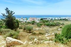 Sikt av staden i Ayia Napa Arkivfoto