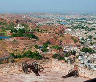 Sikt av staden, Jaswant Thada i Jodhpur, Rajasthan, Indien Arkivbilder