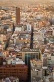 Sikt av staden på solnedgången från en hög poäng Royaltyfria Foton