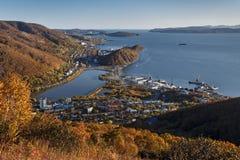 Sikt av staden Petropavlovsk-Kamchatsky Kamchatka Ryssland Royaltyfri Fotografi