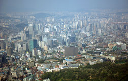 Sikt av staden, Seoul, koreansk republik Arkivbilder